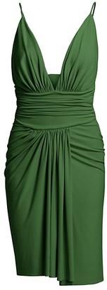Alexandre Vauthier Stretch Jersey Deep V-Neck Slip Dress