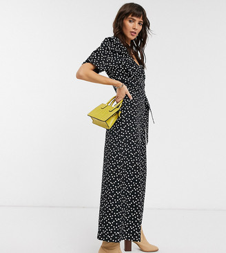 Reclaimed Vintage inspired spot print jumpsuit with wrap front in black