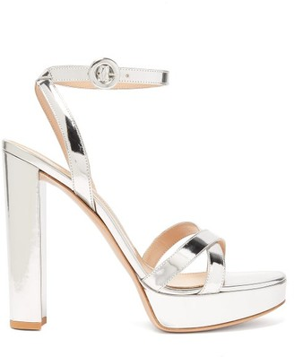 Gianvito Rossi Poppy 100 Metallic-leather Platform Sandals - Silver