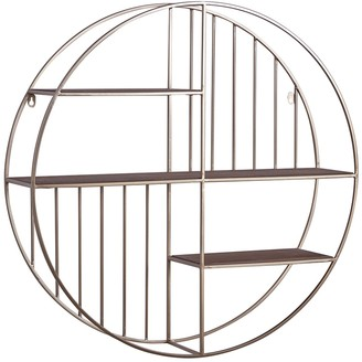 "Willow Row Gold Metal & Wood Round Wall Shelf - 28"" X 28"""
