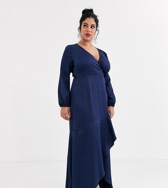 Little Mistress Plus satin wrap maxi dress with frill detail in navy