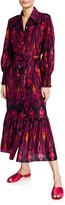 Figue Indiana Ikat-Print Silk Shirtdress