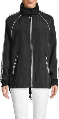 Karl Lagerfeld Paris Logo Full-Zip Hooded Jacket