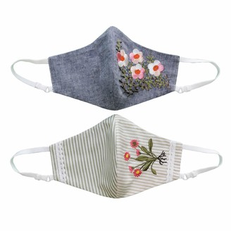Lalipop Design Pack Of 2 - Non-Medical, Adjustable Triple Layer Cotton Face Masks With Nose Wire & Flower Embroidery Details