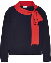 Sonia Rykiel Pussy-bow Wool And Cashmere-blend Sweater - Midnight blue