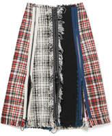 Sonia Rykiel Frayed Checked Cotton-blend Tweed Skirt