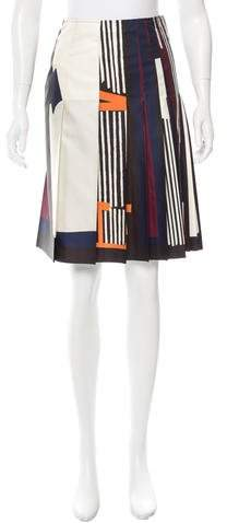 Cédric Charlier Pleated Abstract Print Skirt w/ Tags