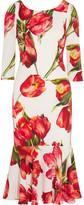 Dolce & Gabbana Fluted Floral-Print Stretch-Silk Midi Dress