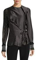 Yigal Azrouel Silk Striped Wrap Top