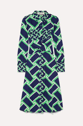 Diane von Furstenberg Jeri Printed Cotton Midi Dress - Navy