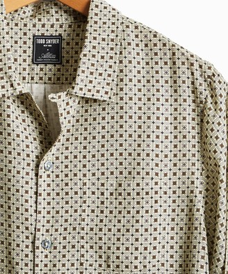 Todd Snyder Long Sleeve Camp Collar Shirt in Cream Tile Print