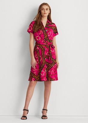 Ralph Lauren Print Belted Crepe Dress