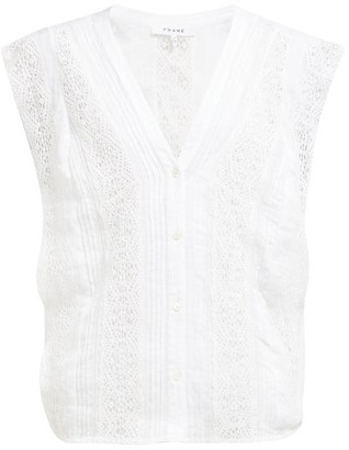 Frame Lace-panelled Ramie Blouse - Womens - White