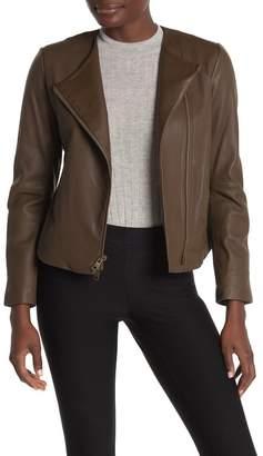 Vince Lambskin Leather Zip Jacket