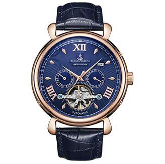 Samuel Joseph Limited Edition Rose & Blue Automatic Designer Mens Watch - Hand Assembled - Skeleton Case, 20 Jewels and A Luxury Genuine Leather Strap - Round Case - Water Resistant