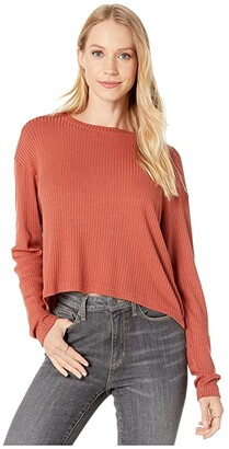 Hard Tail Long Sleeve Crop Tee (Rust) Women's Clothing