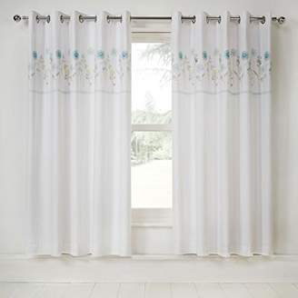 Camilla And Marc Julian Charles Imogen Luxury Embroidered Thermal Eyelet Curtains, 137 cm Length x 168 cm Width, Polyester-Cotton, Duck Egg, 137 x 168 x 0.02 cm