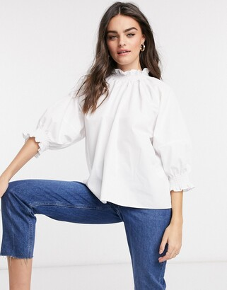 ASOS DESIGN cotton top with shirred neck and cuff detail in ivory