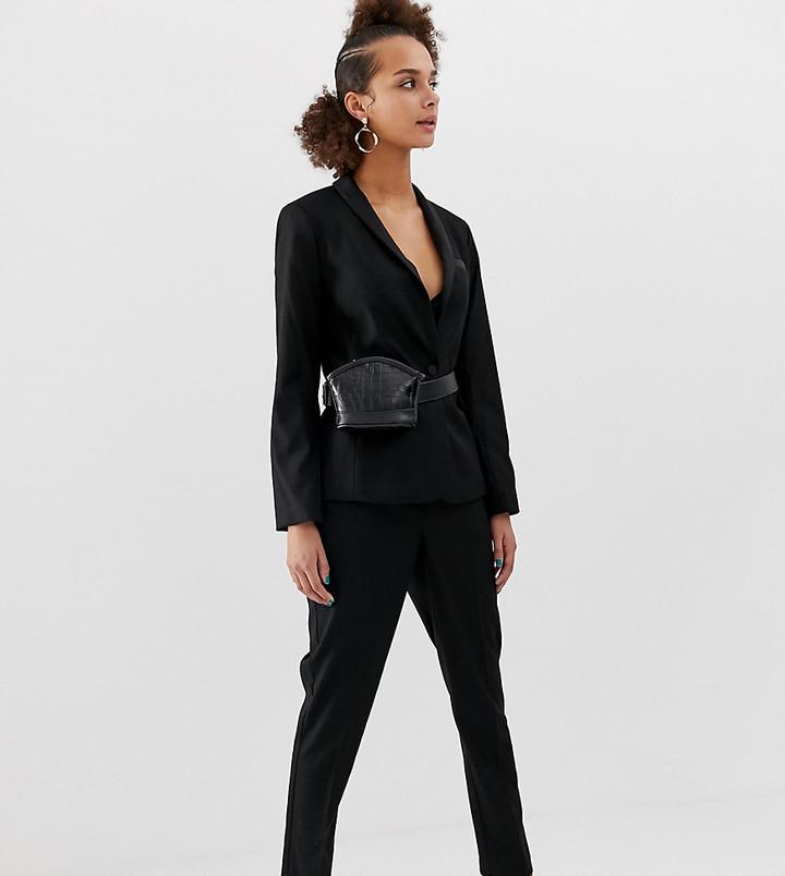 New Look satin tux pants in black