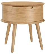 Olsen Oak Scandinavian Style Curved 1 Drawer Bedside Table