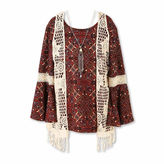 Speechless Long-Sleeve Peasant Top and Vest withNecklace - Girls 7-16