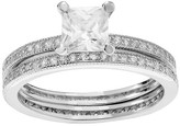 Journee Collection 1 1/2 CT. T.W. Square-cut Cubic Zirconia Square Bridal Prong Set Ring Set in Sterling Silver - Silver