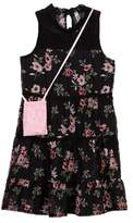 Beautees Lace Yoke Floral Dress with Accessory Bag (Big Girls)
