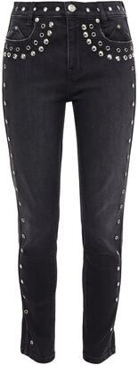 Current/Elliott The 7-pocket Eyelet-embellished Studded Mid-rise Skinny Jeans