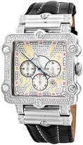 JBW Silvertone Phantom Diamond Leather Strap Watch - Men