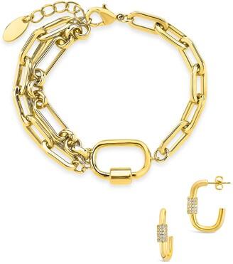 Sterling Forever 14K Gold Plated Oval Carabiner Hoop Earrings & Double Chain Link Polished Bracelet Set