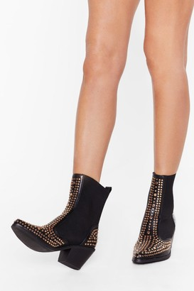 Nasty Gal Womens Black Studded Faux Leather Chelsea Boots