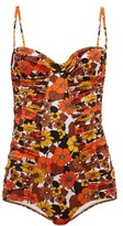 Dodo Bar Or Tatiana Floral-print Ruched Swimsuit - Womens - Brown Print