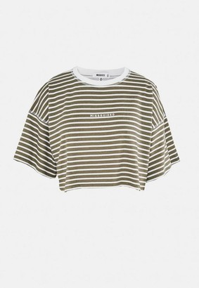 Missguided Stripe Oversized Cropped T Shirt