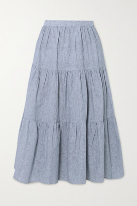 MICHAEL Michael Kors Tiered Striped Linen And Cotton-blend Midi Skirt - Blue