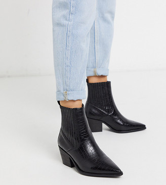 Raid Wide Fit Rocco western boots in black croc