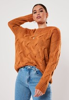 Missguided Sand Cable Knit Jumper