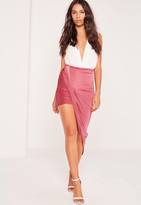 Missguided Slinky Asymmetric Wrap Skirt Pink