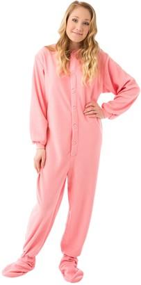 BIG FEET PAJAMA CO. Pink Fleece Onesie Adult Footed Pyjamas with Bum Flap