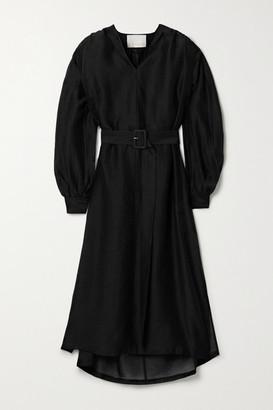 REMAIN Birger Christensen Benini Belted Voile Midi Dress - Black