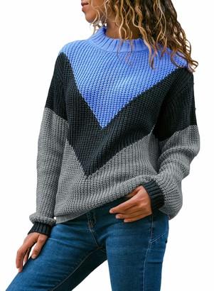 CORAFRITZ Women's Winter Long Sleeve Color Block Knitted Tops Crewneck Slouchy Jumper Sweater Sky Blue