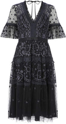 Needle & Thread Midsummer Lace-Trimmed Embroidered Point D'esprit Tulle Dress