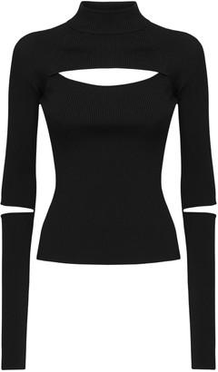 Koché Cutout Ribbed Knit Turtleneck Sweater