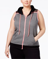 Material Girl Active Plus Size Zip Hoodie Vest, Only at Macy's