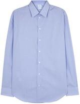 Armani Collezioni Blue Checked Stretch Cotton Shirt