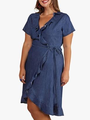 Yumi Curves Denim Frill Wrap Dress, Blue
