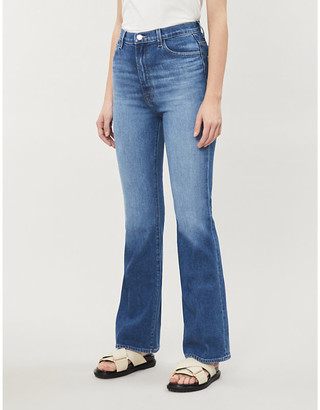 J Brand Ladies Blue Cotton 1219 Flared High-Rise Stretch-Denim Jeans, Size: 24