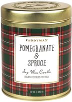 Paddywax Tartan Holiday Collection Soy Wax Gold Tin Candle - Pomegranate & Spruce - 10 oz