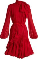 Giambattista Valli Asymmetric neck-tie silk-georgette dress