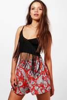 boohoo Nyla Paisley Print Flippy Shorts red