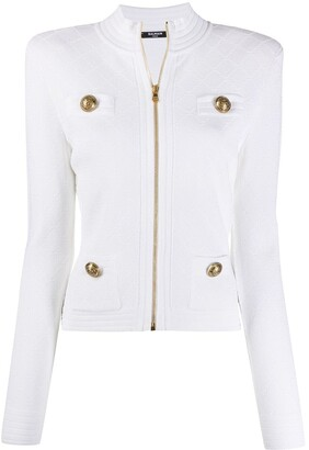 Balmain Quilted Embossed Buttons Zipped Cardigan